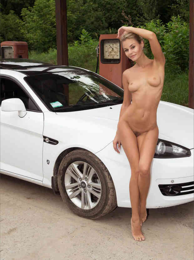 Very beautiful skinny russian goddes posing at abandoned gas station. (19 pics)