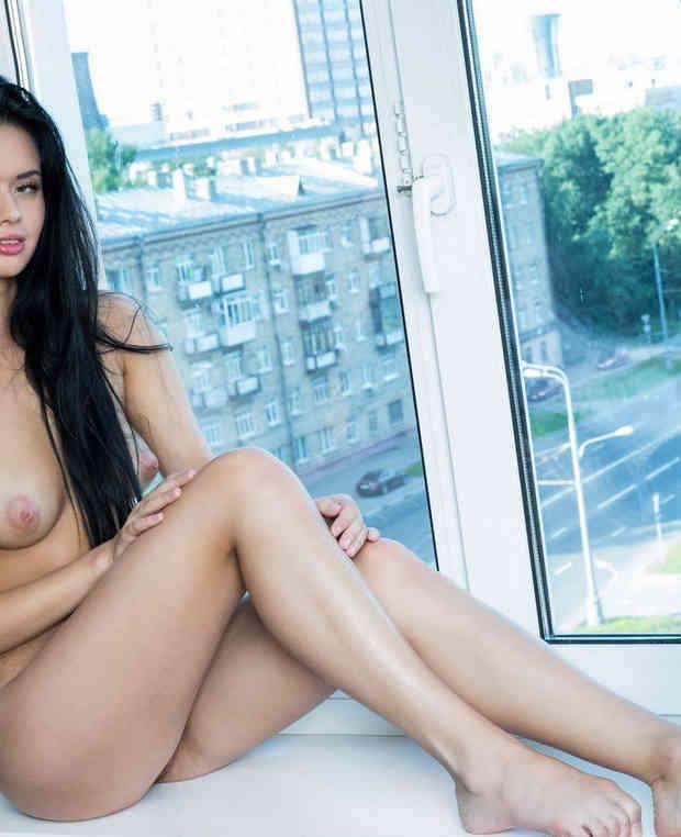 Long-haired brunette on windowsill.